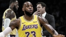 Video: LeBron James gets 3rd foul, tells Lakers HC Luke Walton he doesn't need to sit