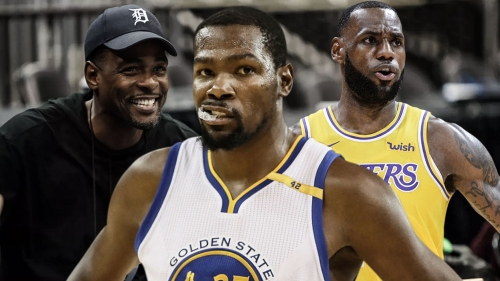 Kevin Durant reacts to Chris Webber's announcing during LeBron James' Lakers debut vs. Blazers