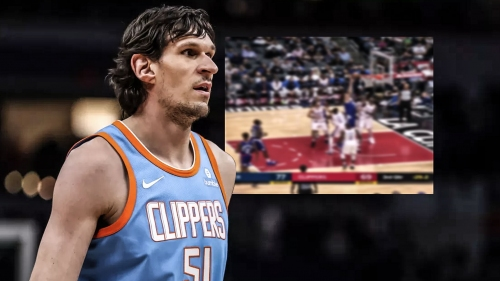 Video: Clippers' Boban Marjanovic holds the ball up and no defender could reach for it
