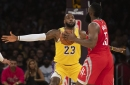 Photos: LeBron James makes home debut for Lakers, brawl breaks out