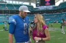 Mattew Stafford talks to Jen Hale about the Lions' Week 7 win over the Dolphins