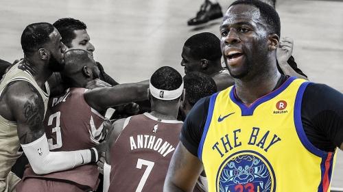 Warriors' Draymond Green reacts to Rajon Rondo-Chris Paul fight during Lakers-Rockets