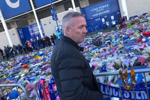 Ex-Aston Villa and Wolves boss Paul Lambert arrives at Leicester City to pay tribute after helicopter crash