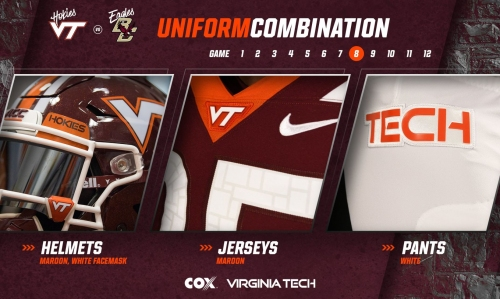Virginia Tech reveals uniforms for Boston College game