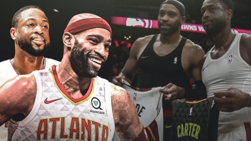 Dwyane Wade exchanges jerseys with Vince Carter after Heat-Hawks game