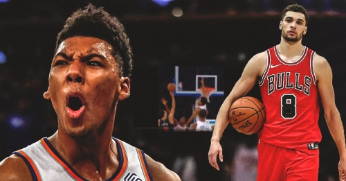 Video: Knicks' Allonzo Trier denies Zach LaVine at the rim with huge chasedown block