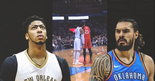 Video: Thunder's Steven Adams hilariously leans his body on Pelicans' Anthony Davis