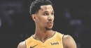 Video: Lakers' Josh Hart jumps over front row, leaves fan hanging