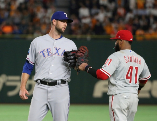 Rangers' Martin gets save in opener of MLB tour of Japan