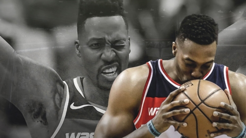 Video: Wizards center Dwight Howard's weird interaction with basketball after missing layup