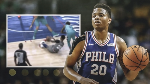 Video: Sixers' Markelle Fultz delivers nutmeg dime while on the floor