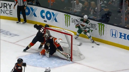 Wild setup back-to-back goals against Ducks from behind net