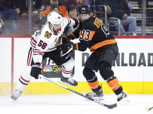Couturier, Elliott help Flyers rout slumping Blackhawks