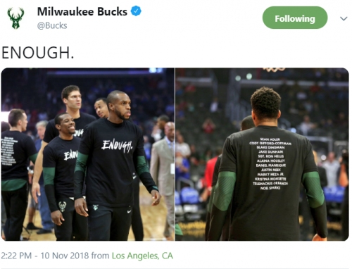 Bucks, Clippers wear shirts that pay tribute to Thousand Oaks shooting victims, decry gun violence