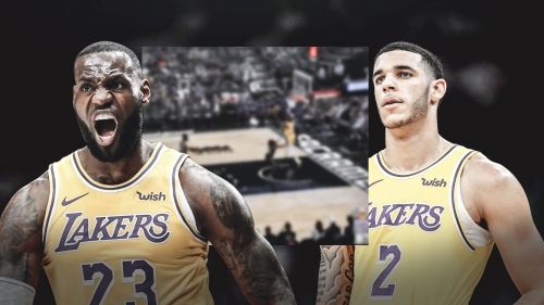 Video: Lakers teammates Lonzo Ball, LeBron James connive for long alley-oop play