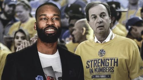 Baron Davis seated next to Joe Lacob during Warriors' home game vs. Nets