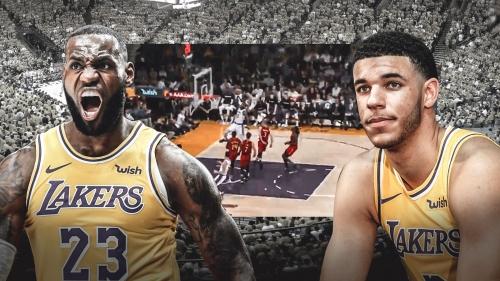 Video: Lakers' Lonzo Ball feeds LeBron James for fastbreak slam