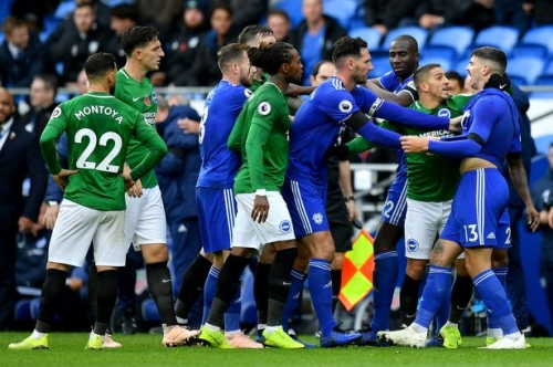 Pundit lashes out at 'cheeky' Cardiff City players 'who should have known better' than play part in Brighton red card