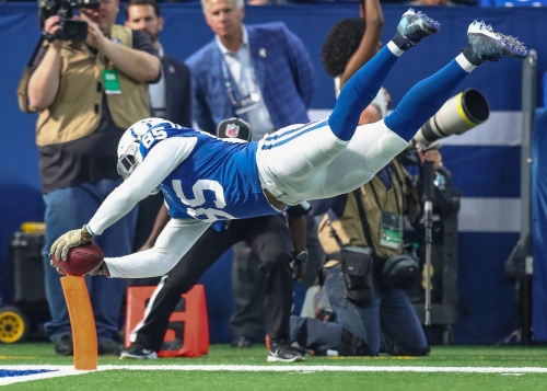 Thumbs up: Just call Eric Ebron Mr. Touchdown