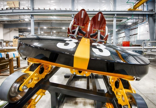 Here's how the cars look for Kennywood's Steel Curtain roller coaster