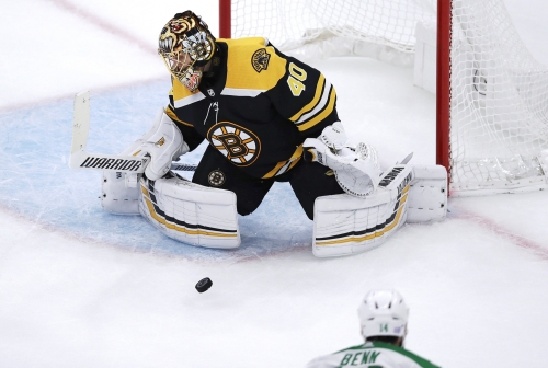 Boston Bruins' goaltender Tuukka Rask back at practice after 3-day leave
