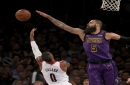 The Los Angeles Lakers' Tyson Chandler (5) blocks a shot by the Portland Trailblazers' Damian Lillard in the second quarter on Wednesday, Nov. 14, 2018, at Staples Center in Los Angeles. The Lakers won, 126-117.