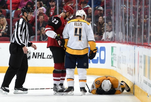 Coyotes' Archibald to have hearing for head hit on Predators' Hartman