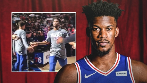 Sixers' Jimmy Butler gets introduced in Philly for the first time
