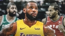 Lakers' LeBron James reacts to Kyrie Irving's game vs. Raptors