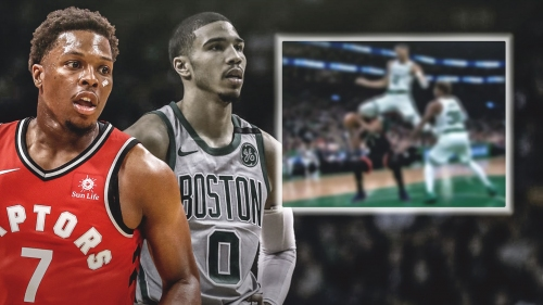 Video: Celtics' Jayson Tatum sends flying knee to Kyle Lowry's face