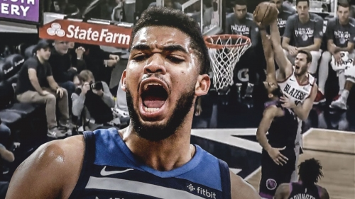 Karl-Anthony Towns rips dunk out of mid-air