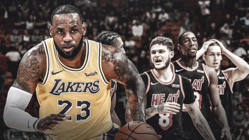 Lakers' LeBron James drops 28 points in first half against the Heat
