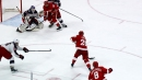 Mike Green intercepts clearing attempt, carefully scores top shelf