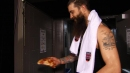 Brent Burns celebrates Sharks win with slice of pizza