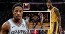 Spurs' DeMar DeRozan blows by Lakers' LeBron James for the flashy finish