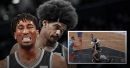 Jarrett Allen gets dragged around the hardwood by his teammate