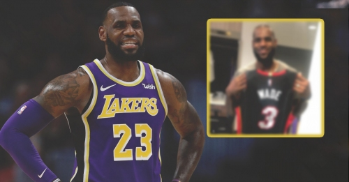 LeBron James shows off signed game-worn jersey from Dwyane Wade