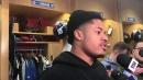 NY Giants' Sterling Shepard reacts to being praised for his blocking vs. Redskins