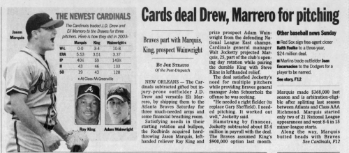 15 years ago: Cardinals acquire a young pitcher named Adam Wainwright. Here was our take on the trade