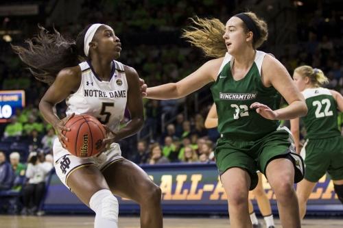 Mabrey leads No. 2 Notre Dame women past Binghamton 103-53