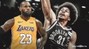 Lakers' LeBron James reacts to Jarrett Allen blocking his dunk attempt
