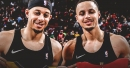 Stephen Curry, Seth Curry exchange jerseys after Warriors-Blazers match