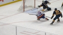 Sabres' Hutton reaches back with stick to rob Bailey