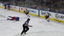 Penguins' Letang strips Buchnevich of puck, snipes top corner