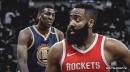 Rockets star James Harden takes hard hit from Warriors big man Kevon Looney