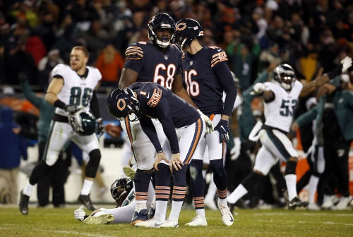 Chicago Bears kicker Cody Parkey (1) misses the potential game-winning kick against the Philadelphia Eagles during the NFC Wild Card game on Sunday, Jan. 6, 2019 at Soldier Field in Chicago, Ill. The Eagles beat the Bears, 16-15.