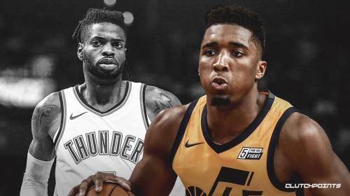 Jazz guard Donovan Mitchell reacts to Nerlens Noel's scary injury