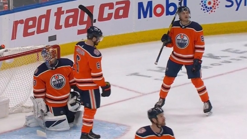 Oilers score own goal after puck takes two unlucky bounces