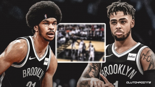 Video: Jarrett Allen's missed dunk for Nets goes straight to D'Angelo Russell at 3-point arc