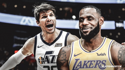 LeBron James congratulates former teammate Kyle Korver on moving back into 4th on all-time 3-pointers list